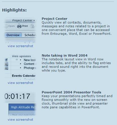 Microsoft Office 2004 Demo