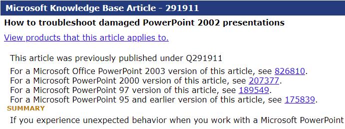 Microsoft Knowledge Base Article - 291911