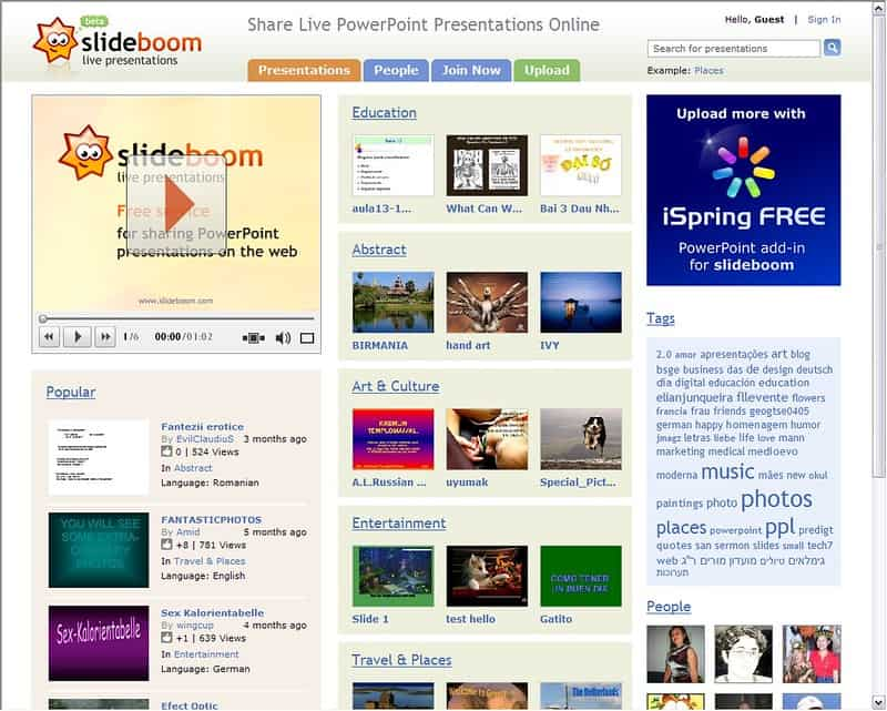 SlideBoom Homepage