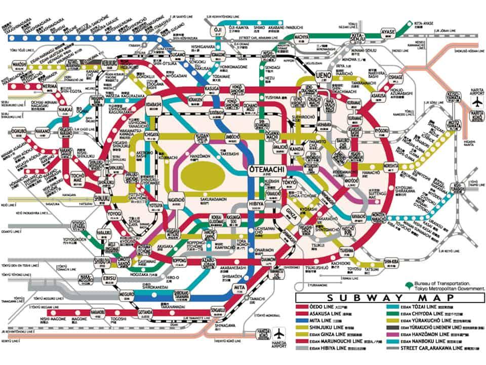 Tokyo Complicated Subway Map