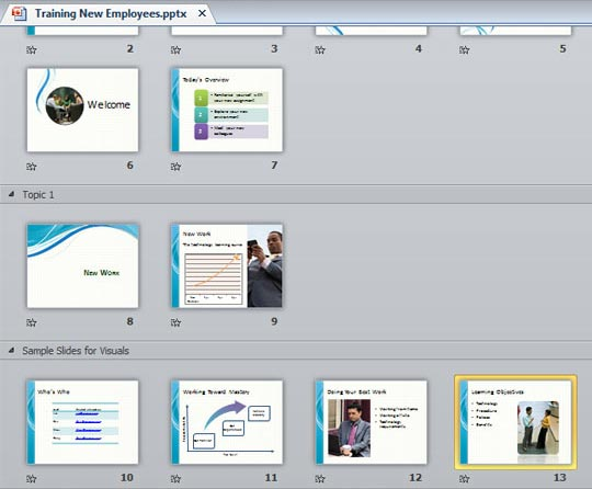 Learn PowerPoint 2010 for Windows: Moving Slides Between Sections