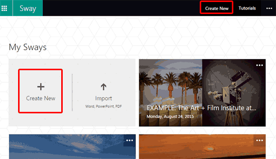 Create a New Sway in Microsoft Sway