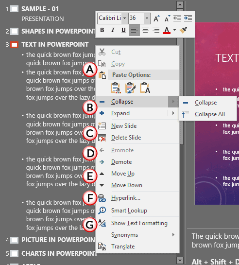 Outline Pane Options in PowerPoint 2016 for Windows