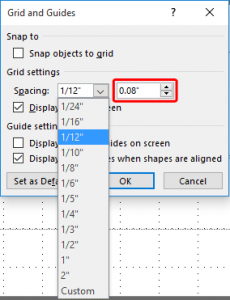 Snap to Grid Settings in PowerPoint 2016 for Windows