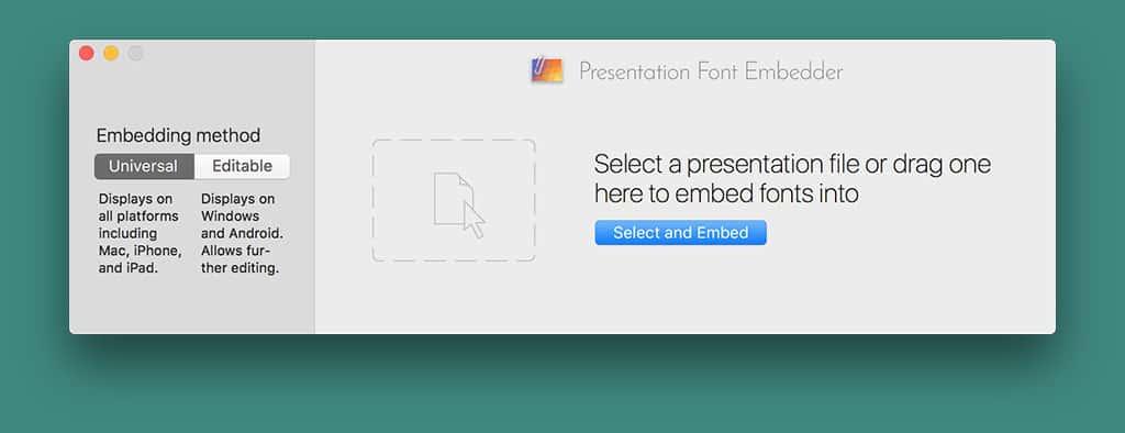 Presentation Font Embedder Window