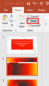 Reset Slides in PowerPoint 2016 for Windows