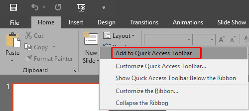 Customize Quick Access Toolbar in PowerPoint 2016 for Windows