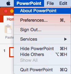 PowerPoint for Mac About