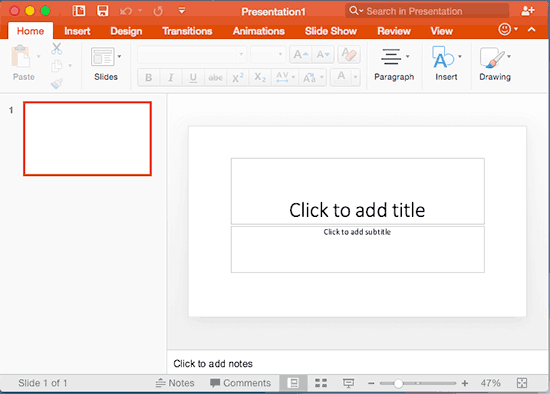 PowerPoint for Mac interface