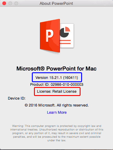 PowerPoint for Mac Retail