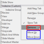 Reordering and Removing Ribbon Tabs in PowerPoint 2016 for Windows