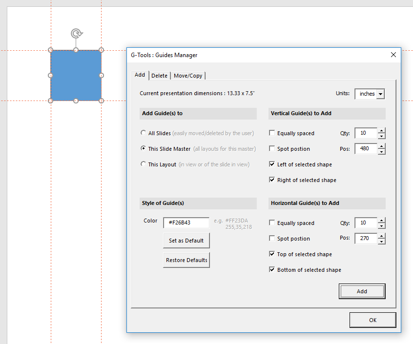 G-Tools - Guides Manager - Shape on Slide and Page