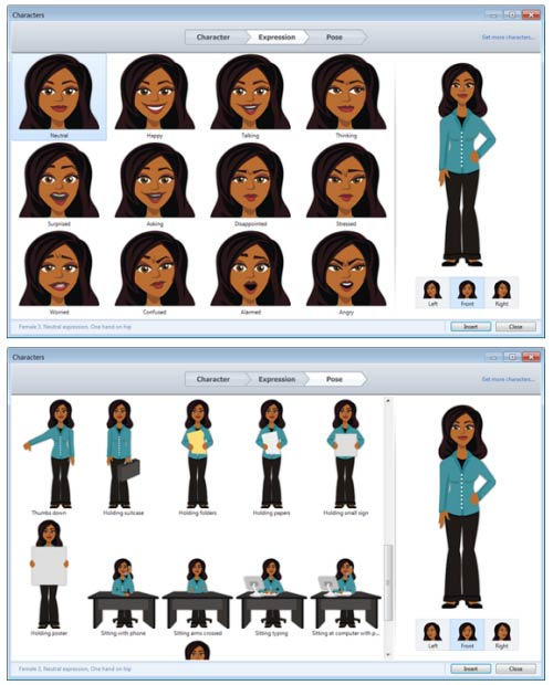 Examples of free illustrated characters that come with Articulate Studio '13 when using PowerPoint