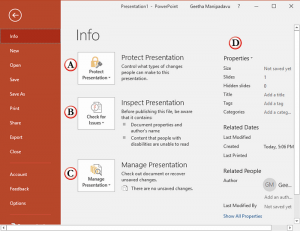 Info Tab Options in Backstage View of PowerPoint 2016 for Windows