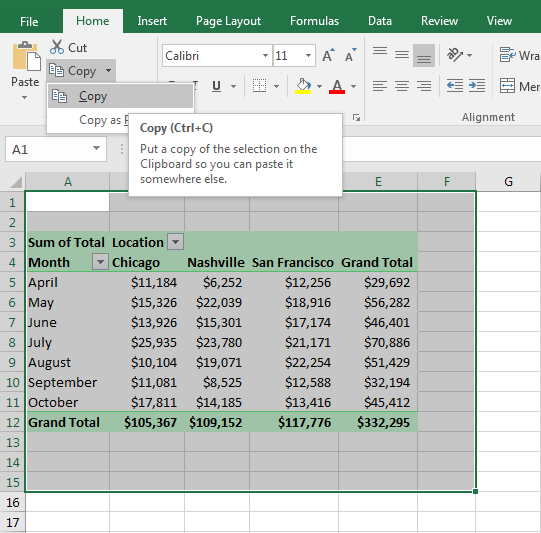 Copy the Pivot Table