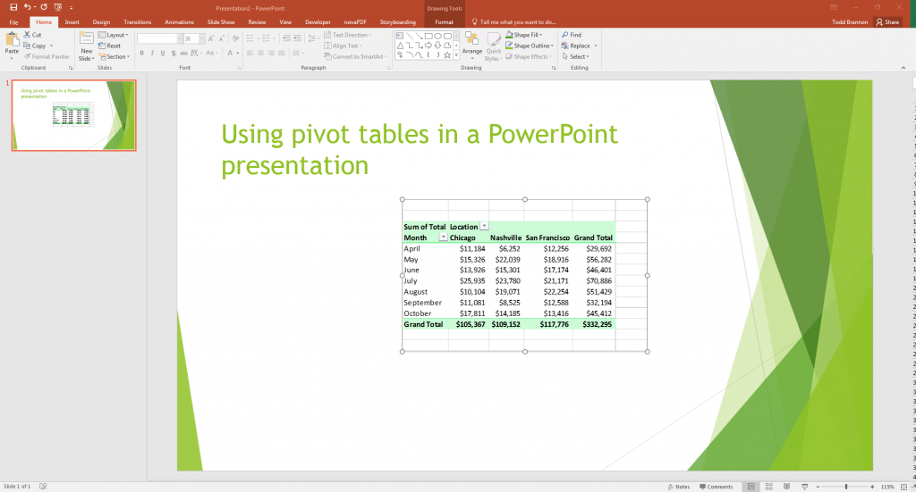 Pivot Table in your PowerPoint slide