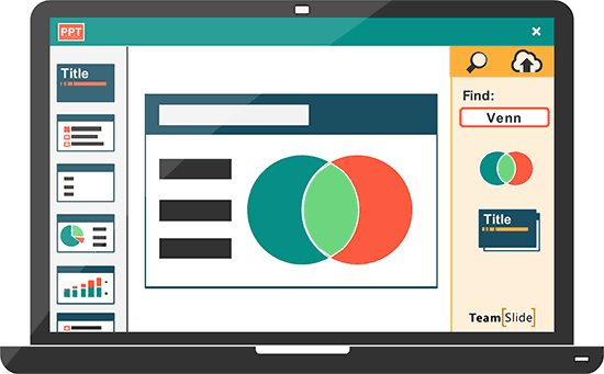 TeamSlide is embedded in PowerPoint allowing uses to insert content into their presentations with just a click
