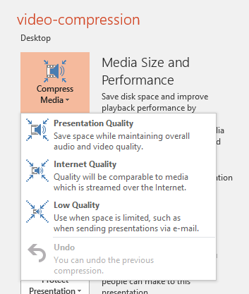 Video Compression Options in PowerPoint 2016 for Windows