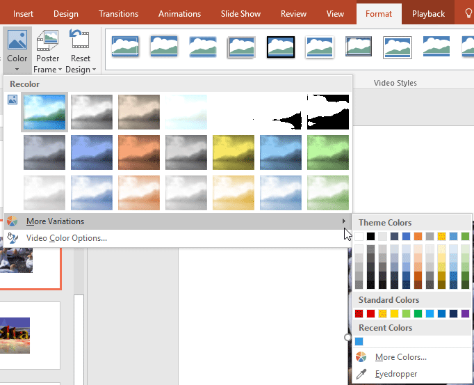 Video Recolor Options in PowerPoint 2016 for Windows
