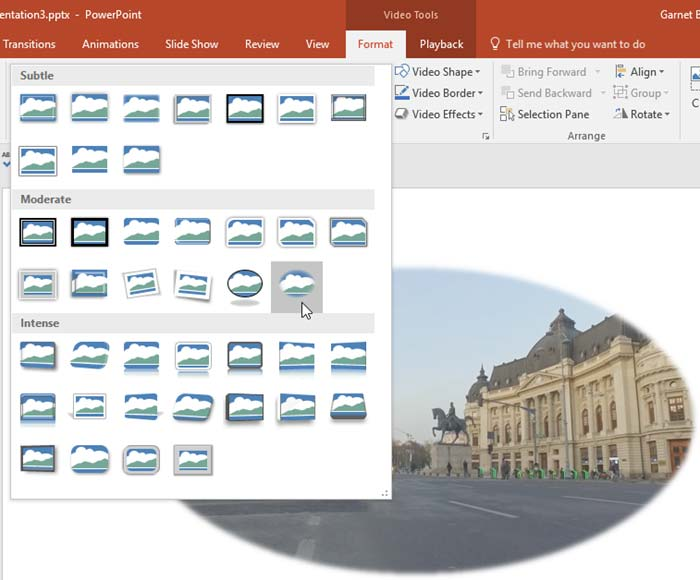 Video Styles in PowerPoint 2016 for Windows