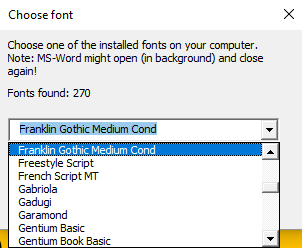 Progress Indicator Font Chooser