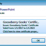 Acquire or Create a Digital Signature in PowerPoint 2013 for Windows