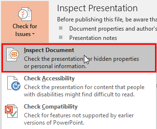 Inspect Document in PowerPoint 2016 for Windows