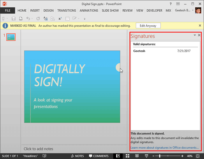 Remove Digital Signatures from PowerPoint 2013 for Windows