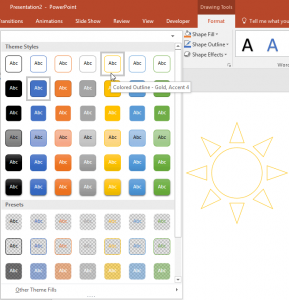 Shape Styles in PowerPoint 2016 for Windows