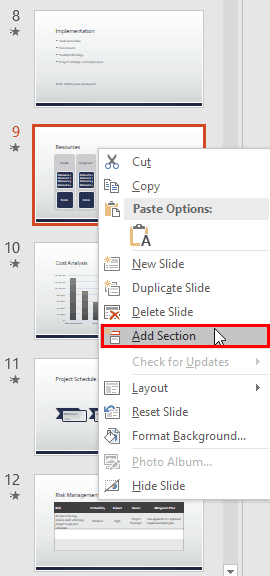 Adding and Renaming Sections in PowerPoint 2016 for Windows