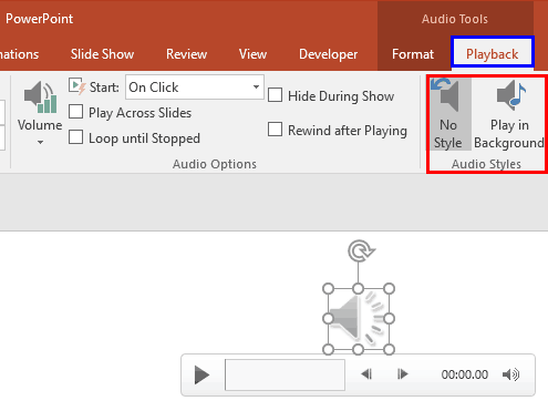 Audio Styles in PowerPoint 2016 for Windows