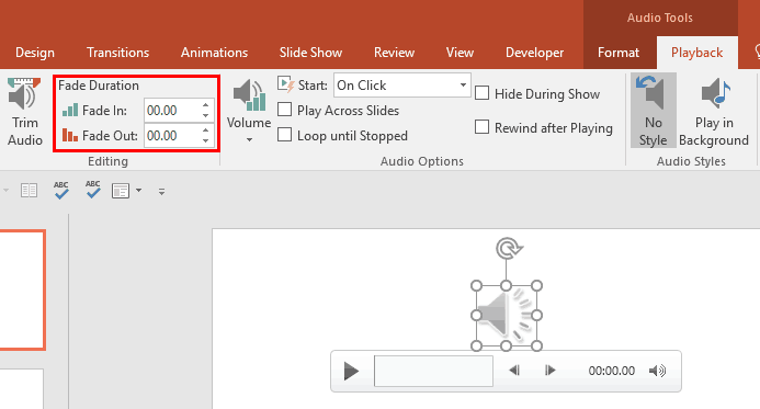 Fade Effect for Audio Clips in PowerPoint 2016 for Windows