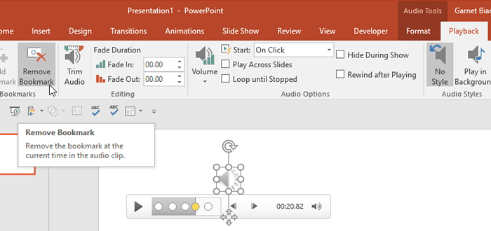 Remove Bookmarks from Audio Clips in PowerPoint 2016 for Windows