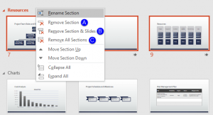 Removing Sections in PowerPoint 2016 for Windows