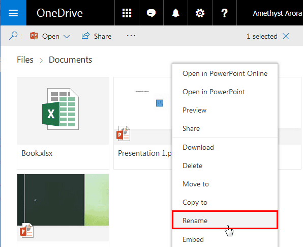 rename files in powerpoint online and onedrive powerpoint and