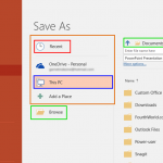 Save and Save As Options in Backstage View of PowerPoint 2016 for Windows
