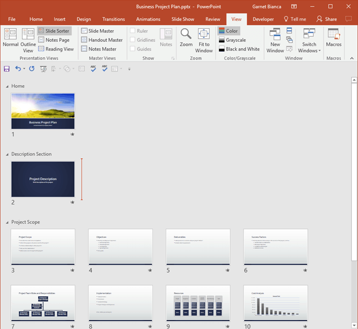 Getting Started with Sections in PowerPoint 2016 for Windows