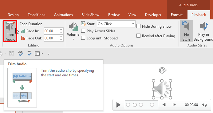 Trim Audio Clips in PowerPoint 2016 for Windows