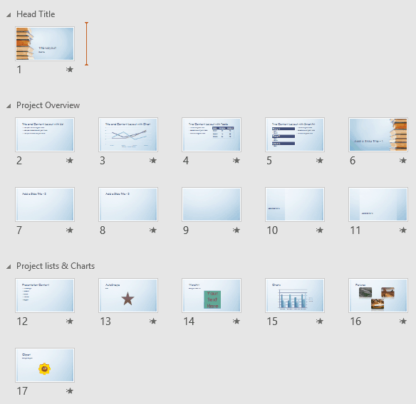 Viewing Sections in PowerPoint 2016 for Windows