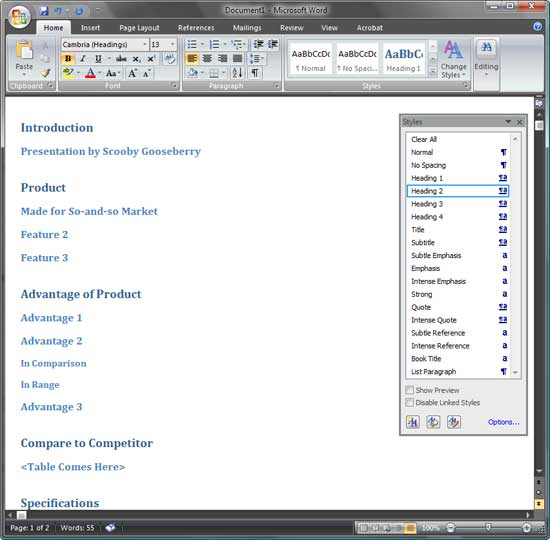 Creating PowerPoint Outlines in Microsoft Word 2007 for Windows