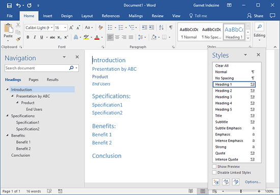Creating PowerPoint Outlines in Microsoft Word 2016 for Windows