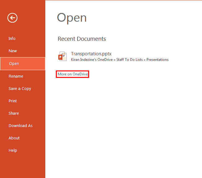 File Menu and Backstage View in PowerPoint Online