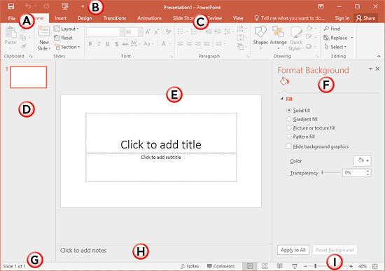 Interface - PowerPoint 2016 for Windows