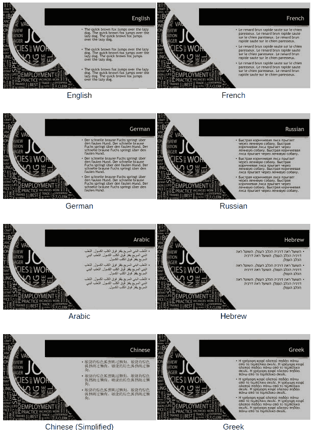 PowerPoint Text Boxes in Different Languages