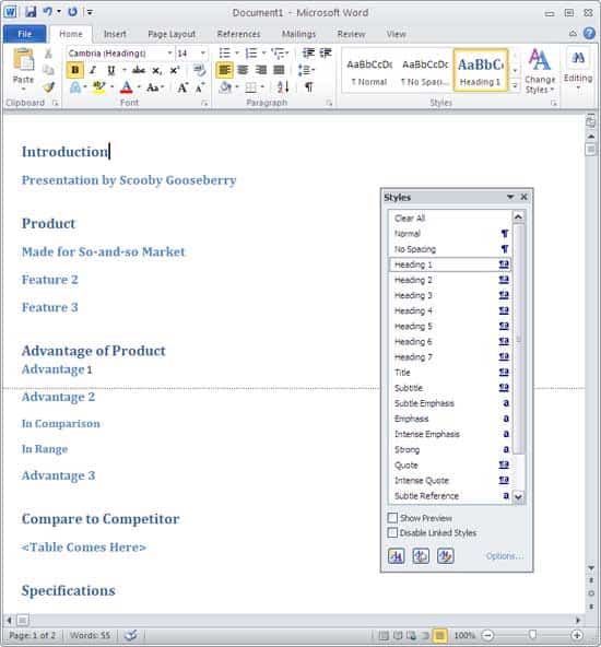 Creating PowerPoint Outlines in Microsoft Word 2010