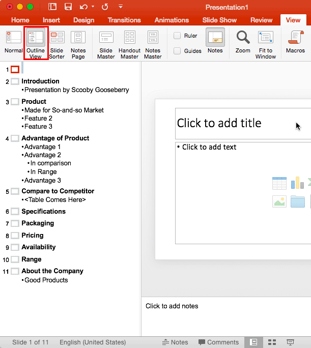 Import Outlines in PowerPoint 2016 for Mac