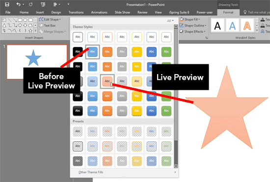 Live Preview in PowerPoint 2016 for Windows