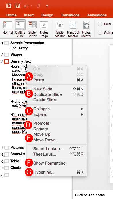 Outline Pane Options in PowerPoint 2016 for Mac