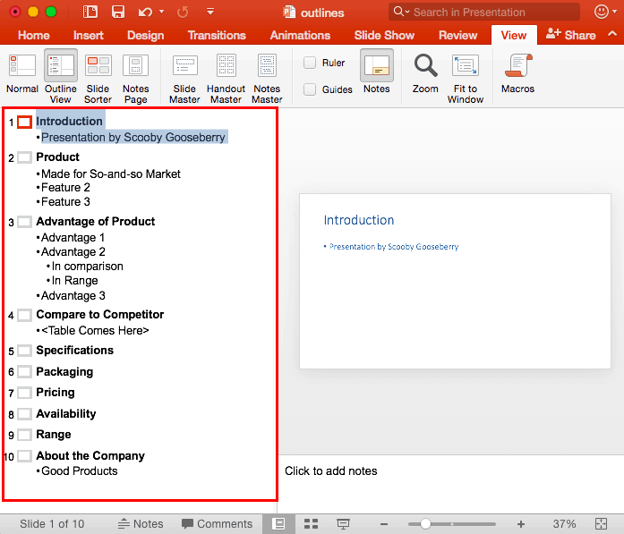 Outline View in PowerPoint 2016 for Mac