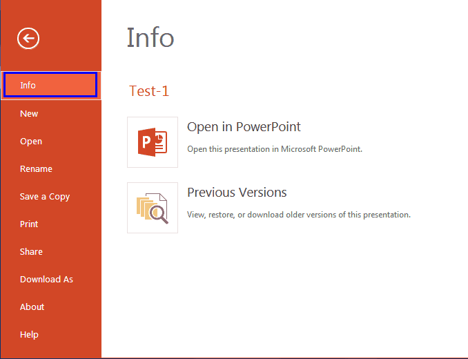 Backstage View – Info Pane in PowerPoint Online